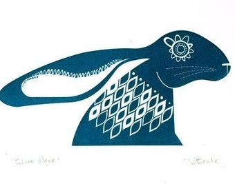 Blue Hare - Hand Pulled, Signed, Gocco Screenprint