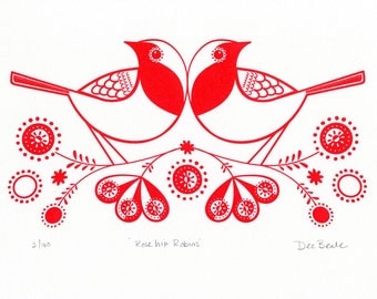 Rose Hip Robins - Hand Pulled, Signed, Gocco Screenprint