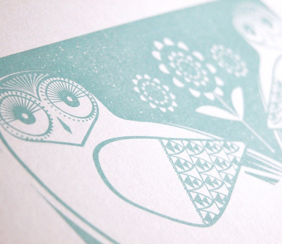 Snowy Owls In Midwinter Blue - Hand Pulled, Signed, Gocco Screenprint