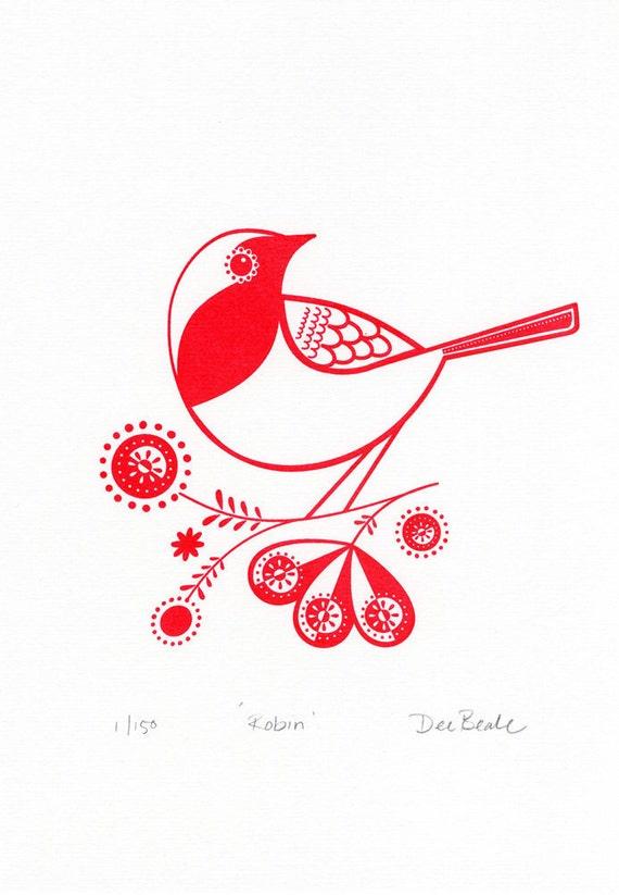 Robin - Hand Pulled, Signed, Gocco Screenprint