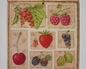 Fruits (1) - decoupaged picture (cherry, strawberry, red currant, black currant, raspberry, blackberry, gooseberry)