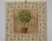 Potted Pink Rose Tree - wall hanging home decor gift idea