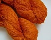 Peace Silk Lace Handspun Naturally Dyed Yarn orange