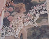 Victorian Heirloom Like LACE with Leaf Pattern and ROSETTES  3inch W & 1 yard...Pillows/sachets