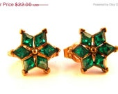 50% OFF As Marked Crown Trifari Green Rhinestone Star Earrings Vintage Jewelry