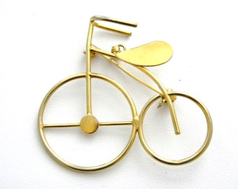 Old time Bicycle Gold Tone Pin or Pendant Vintage Jewelry