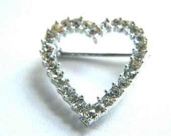 Vintage Sarah Coventry Rhinestone Heart Pin