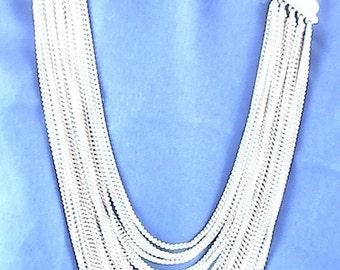 Vintage 20 Chain Silvertone Necklace