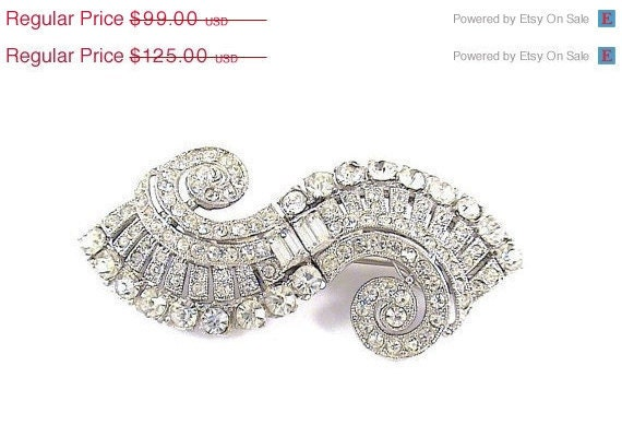 50% off reflected in pric Gorgeous Art Deco Coro Duette Vintage Jewelry Rhinestone