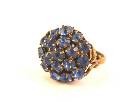Reserved for Sue Vintage Blue Rhinestone Ring Prong Set