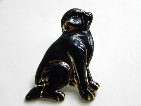 Black Lab Pin Adorable with gold tone trim.