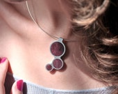 Purpleheart wood 3 Circles Drop Necklace - with Silver Neck Ring