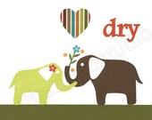 ELEPHANT Art Print,  Target Circo Elephant Shower, Bathroom Art, Kids Room Decor, Child Art, 8x10 Art Print, Personalized,