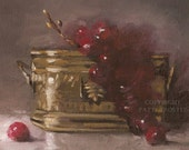 Gift Ideas For Her Kitchen Wall Art Beautiful Red Cherry Original Oil Painting Home Decor Wedding Christmas Gift