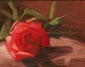 Red Rose Wall Art Gift Original Oil Art Painting Love Romance Wedding gift for her