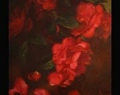 Red Roses Original Oil Painting Home Decor Wedding Gift Ideas Romance Love Wall Art