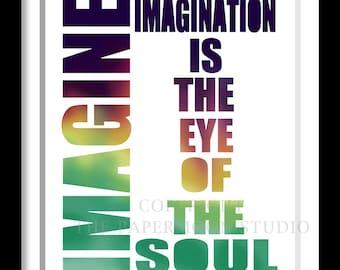Imagination inspiration quote print,Typography poster, Retro, VIntage style, Motivational print, imagine,Wedding Gift Ideas