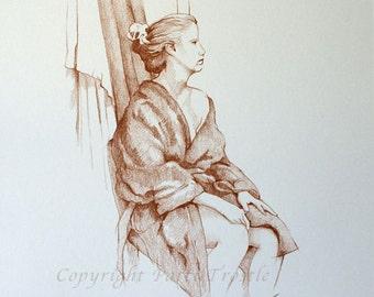 Human Female Figure Drawing - Original Brown Graphite Sketch Female Model Gift Idea