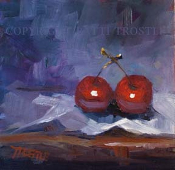 Kitchen Art Red Cherries Original Oil Painting Fruit Love Wedding Love Home Gift Ideas