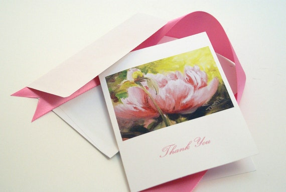 "Floral  Pink Peony or personalized cards from one of my original oil paintings ""Mama and Baby"". Mother gift idea"