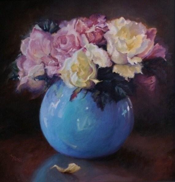 Flowers Flower Rose Quartz and Serenity Roses Wall Art Room Decor Oil Painting Gift Ideas