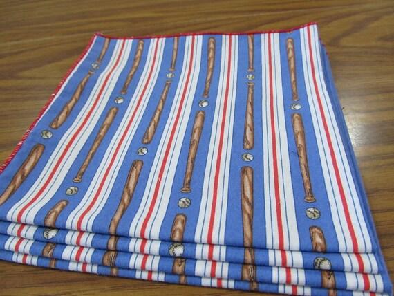 Set of 4 Baseball Striped Cloth Napkins