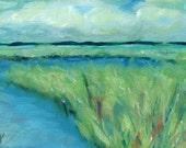Colorful Marsh, Coastal, Grass, - original oil painting by Clair Hartmann