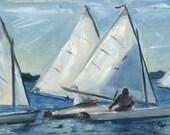 Sailboats, White Sails, Blue Water Racing, Race, North Carolina Original Oil Painting by Clair Hartmann