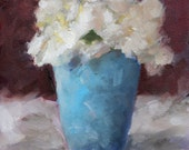 White Gardenia, Flower, in Aqua, Blue Cup, Vase Original Still Life Painting by Clair Hartmann