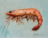Orange and Pink Boiled Shrimp on Blue Green Background  - original oil painting by Clair Hartmann
