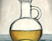 Weekend Sale - - Oil Carafe, Olive Oil, Cooking, Still Life - Original Oil Painting by Clair Hartmann