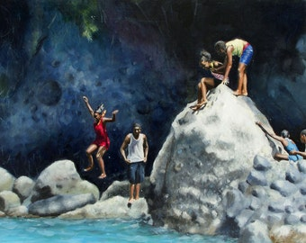 Caribbean Blue Water, Rocks, Granada, Children Playing on Rocks, Summer Vacation  - original oil painting by Clair Hartmann