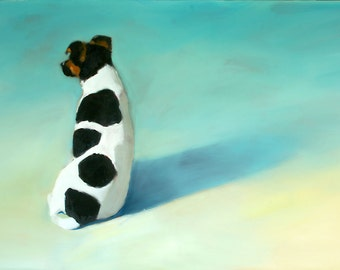 Jack Russell, Dog, Puppy on the Aqua, Sand Beach Landscape Signed Fine Art Print by Clair Hartmann