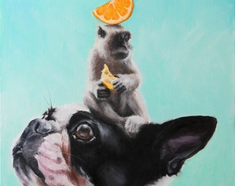 Humorous, Quirky Boston Terrier, Monkey, Orange Stacked on Aqua Blue, Signed Fine Art Print by Clair Hartmann