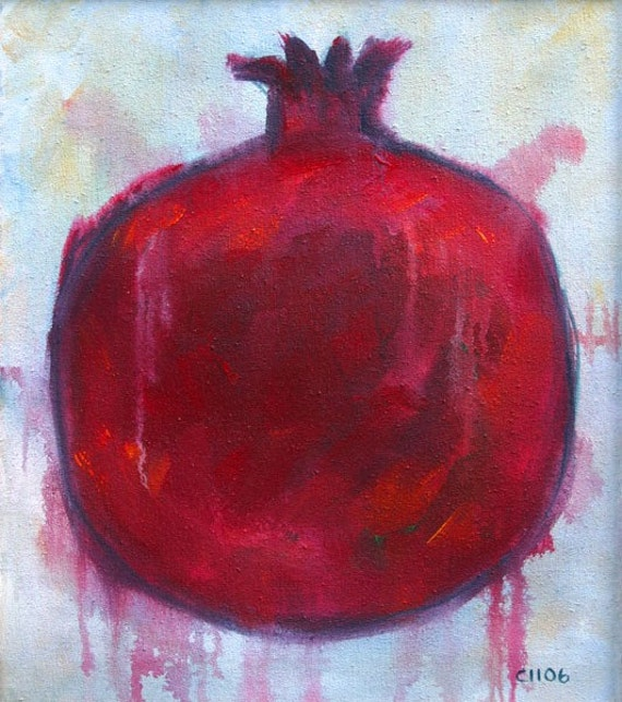 Big, Red Juicy, Drippy, Pomegranate Original Acrylic Painting by Clair Hartmann