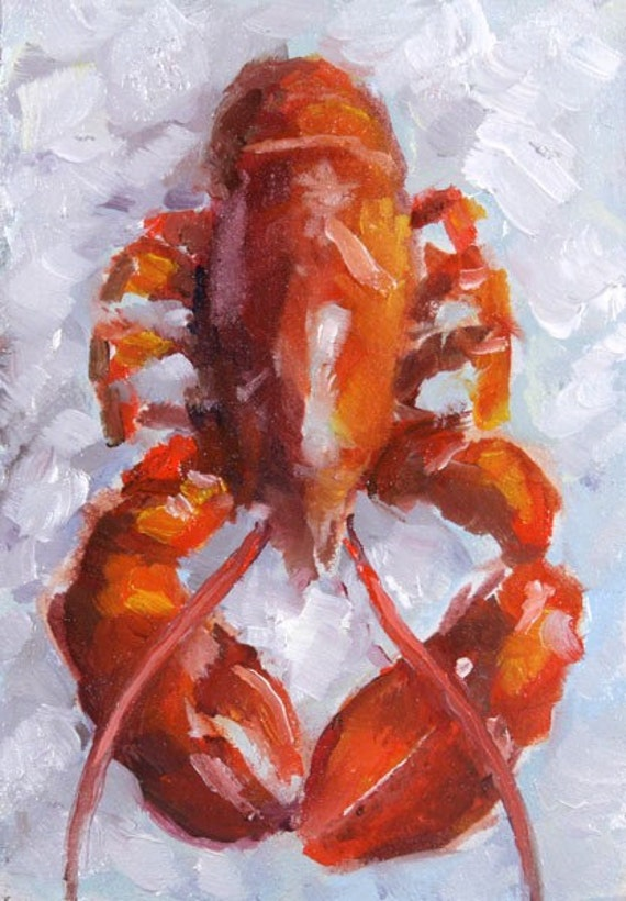 Red Lobster, Seafood on Ice -  ACEO Original Miniature Oil Painting by Clair Hartmann