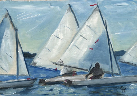 Sailboats, White Sails, Blue Water Racing, Race, North Carolina Original Oil Painting by Clair Hartmann