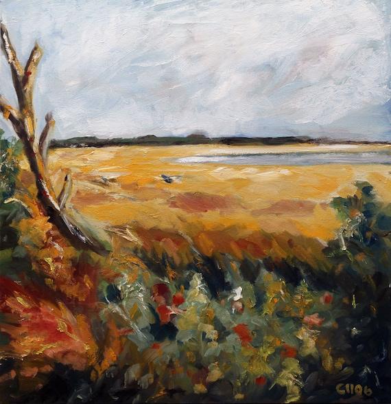 Summer, Marsh, Coastal, River, Marsh Landscape, Original Painting by Clair Hartmann