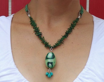 Large Green Coral Pendant Necklace with Turquoise Nuggets and Leather