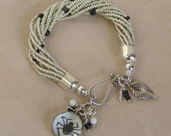 Silver and Black Bead Torsade Bubble Spider Charm Bracelet