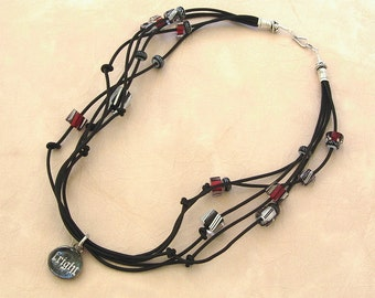 Fright Night - Black Leather Choker/Necklace with Cane/Furnace Glass