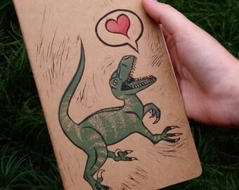 Velociraptor Love... Large Cahier Moleskine... Ruled