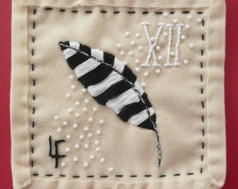 Peace Feather in Winter White - Needlework Art