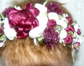 Victorian Burgandy and White Ribbon Roses HEADBAND for REBorn Doll or  Newborn BABY