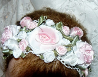 Victorian Pink Roses HEADBAND for REBORN Doll or Newborn BABY
