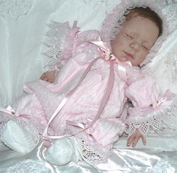 Pink CHENILLE  ROMPER for REBORN doll/newborn baby
