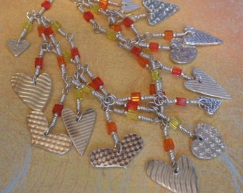 WIre Wrap and PMC Heart Charm Bracelet