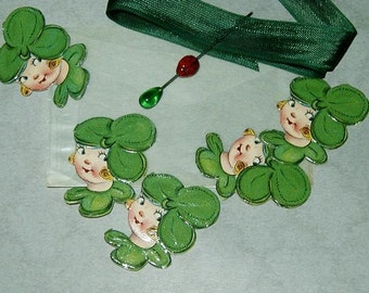St. Patrick's Day Shamrock Girl Vintage German Scrap / Die Cut