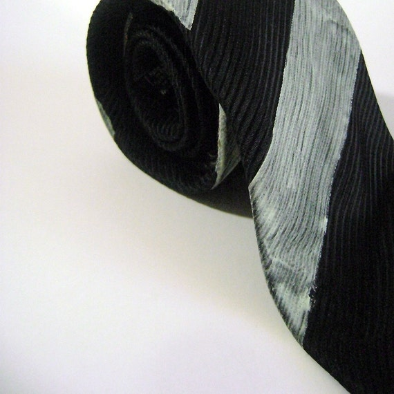 Black and White Glow in the Dark Striped Tie Hand Painted One of a Kind