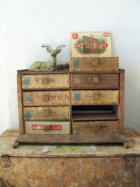 Cigar Box Cabinet, Amazing One of a Kind Antique Decor